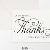 A Very Special Script Thank You Folded Note Card