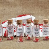 Red wedding favor for guests Message in a bottle Romantic wedding Heart in a bottle Wedding thank you Favors mini bottle favors Keepsakes