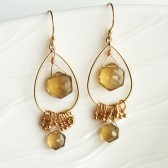 Citrine Hexagon Earrings