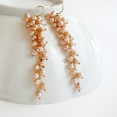 Cascading Pink Pearl Earrings