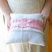 Pink Pleated Ring Pillow