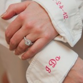 Bride Monogram Shirt with I Do & Date On Cuffs