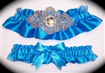 Aegean Blue Regal Satin Garter