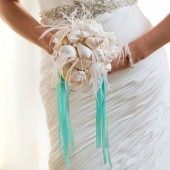 Alexandra - Glittering white shell bouquet with white ostrich whisps