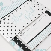 Modern floral stripes & polka dot wedding invitation – Alexis