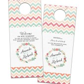 Floral Wreath & Chevron Colorful Door Hangers – Amanda