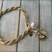 Gold Pearl Anchor Bracelet