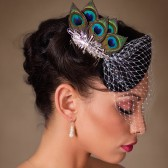 Andrea - Rhinestone and Peacock Feather Birdcage Veil Fascinator