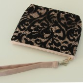 Angela Wristlet - Rose Pink Linen and Black Scroll Lace