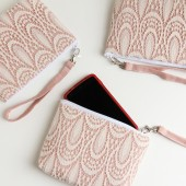 Angela Wristlet in Pale Pink and Cream Teardrops