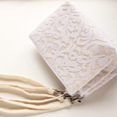 Angela Wristlet in Cream and White