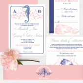 Seahorse beach wedding invitation with flourishes – Annabelle