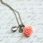 Coral Handstamped Bridesmaid Necklace - Pick from 10 Rose Colors