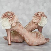 Blush Peep Toes Lace Overlay Custom Wedding Shoes with Trio of Shades of Pink Flowers with Pearl Accents