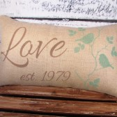 Burlap pillow with Love, established date and birds