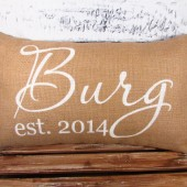Burlap pillow with couple's names and established date