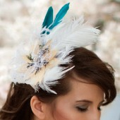 April - White, Ivory and Teal Ostrich and Peacock Feather Fascinator with Birdcage Veil