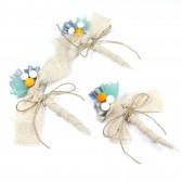 Beachy Set of 3 Aqua and mustard Boutonnieres