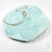 Aqua blue lace ceramic ring bearer dish, wedding ring pillow alternative