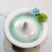 Aqua bluebell blue flower ring holder, ceramic pottery ring dish