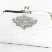 White Bridal Clutch with Rhinestone Geometric Brooch + French veil