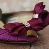 Aubergine Peep Toe Kitten Heel with Matching Double Bow on the Toe
