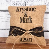 Burlap & lace rustic wedding ring bearer pillow personalized with names and date - Lots of lace color choices!