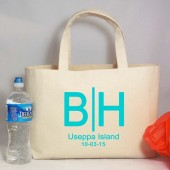 Destination Wedding Monogram Beach Tote Bag