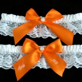 Orange Bridal Garter Set