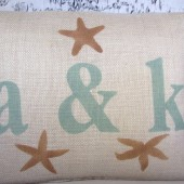 Burlap pillow cover with initials/letters and ampersand & sign or plus sign and starfish - Beach decor