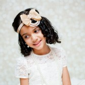 flower girls beige-gold headband halo. Princess headband bow collection 01