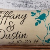 Burlap pillow cover with Name/Names and established date - 12X20 - lumbar - wedding gift - decor