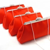 Set of Four Bright Red and Aqua Bridesmaid Clutches