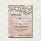 Rustic Lace Bridal Shower Invite-Printable invite w burlap, lace and vintage elements distressed pink background