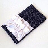 Navy Blue Pin Dot Ruffle Clutch