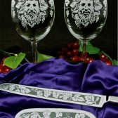 Wine Lover Wedding Gift wine glasses, cake server and knife