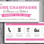 Printed / Bachelorette Weekend / Personalized Icons / Custom Color / Timeline