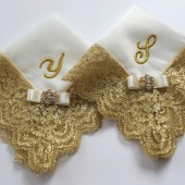 Mother of the Bride&Groom Wedding Hanky Gift Set, Monogrammed Gift, Personalized Mother Gift, Two Gold Lace Couture Satin Handkerchiefs