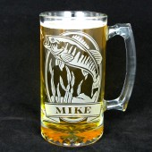 Personalized Bass Beer Mug, Etched Glass Gift for Best Man