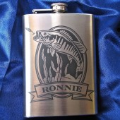 Personalized Flask with Bass, Fish Flask