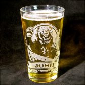 Personalized bear pint glass