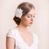 bridal, birdcage veil, birdcage, veil, wedding veil, bridal hair accessory, dahlia, flower, birdcage veil with flower