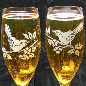 Love birds toasting flutes