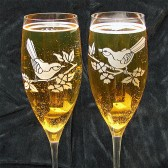 Bride & Groom birds, Love Bird Champagne Flutes