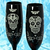 Halloween Wedding Champagne Glasses