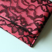 Black Lace and Coral Satin Amelia Clutch