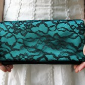 Teal and Black Lace Bridesmaid Clutch
