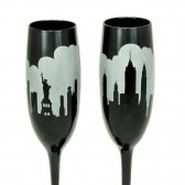 Black NY Destination Wedding Champagne Glasses