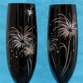 Black Champagne Flutes with Fireworks