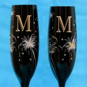Black New Years Eve Wedding Champagne Glasses with Fireworks